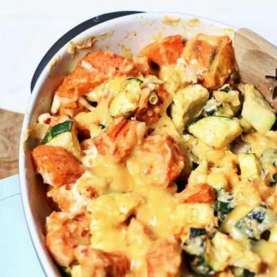 Ovenschotel met kip en zoete aardappel (Paleo)